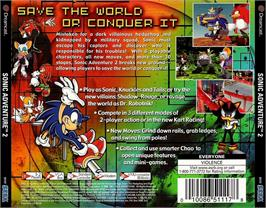 Box back cover for Sonic Adventure 2 on the Sega Dreamcast.