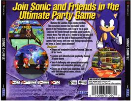 Box back cover for Sonic Shuffle on the Sega Dreamcast.
