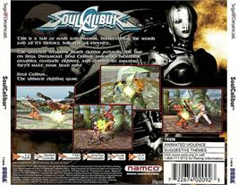 Box back cover for Soul Calibur on the Sega Dreamcast.