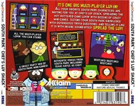 Box back cover for South Park: Chef's Luv Shack on the Sega Dreamcast.