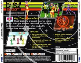 Box back cover for Space Channel 5 on the Sega Dreamcast.