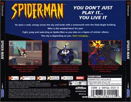 Box back cover for Spider-Man on the Sega Dreamcast.