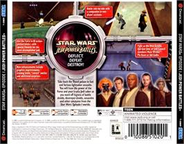 Box back cover for Star Wars: Episode I - Jedi Power Battles on the Sega Dreamcast.