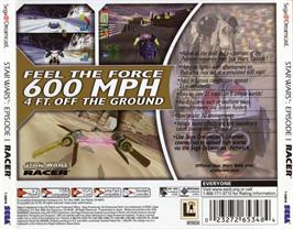 Box back cover for Star Wars: Episode I - Racer on the Sega Dreamcast.