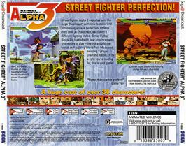 Box back cover for Street Fighter Alpha 3 on the Sega Dreamcast.