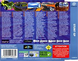 Box back cover for Stunt GP on the Sega Dreamcast.