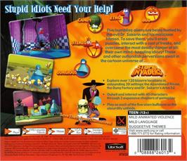 Box back cover for Stupid Invaders on the Sega Dreamcast.