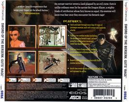 Box back cover for Sword of the Berserk: Guts' Rage on the Sega Dreamcast.