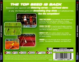 Box back cover for Tennis 2K2 on the Sega Dreamcast.