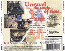 Box back cover for Time Stalkers on the Sega Dreamcast.