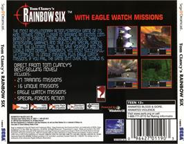 Box back cover for Tom Clancy's Rainbow Six on the Sega Dreamcast.