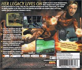 Box back cover for Tomb Raider: Chronicles on the Sega Dreamcast.
