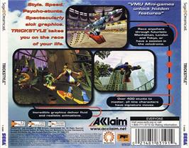 Box back cover for Trickstyle on the Sega Dreamcast.