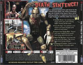 Box back cover for Typing of the Dead, The on the Sega Dreamcast.