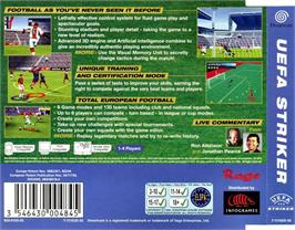 Box back cover for UEFA Striker on the Sega Dreamcast.