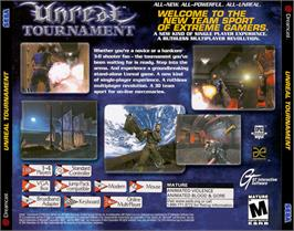 Box back cover for Unreal Tournament on the Sega Dreamcast.