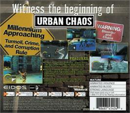 Box back cover for Urban Chaos on the Sega Dreamcast.