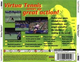 Box back cover for Virtua Tennis on the Sega Dreamcast.