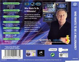 Box back cover for Who Wants to Be a Millionaire? on the Sega Dreamcast.
