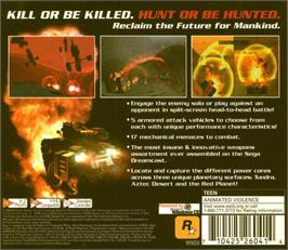 Box back cover for Wild Metal on the Sega Dreamcast.