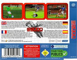 Box back cover for Worldwide Soccer 2000: Euro Edition on the Sega Dreamcast.