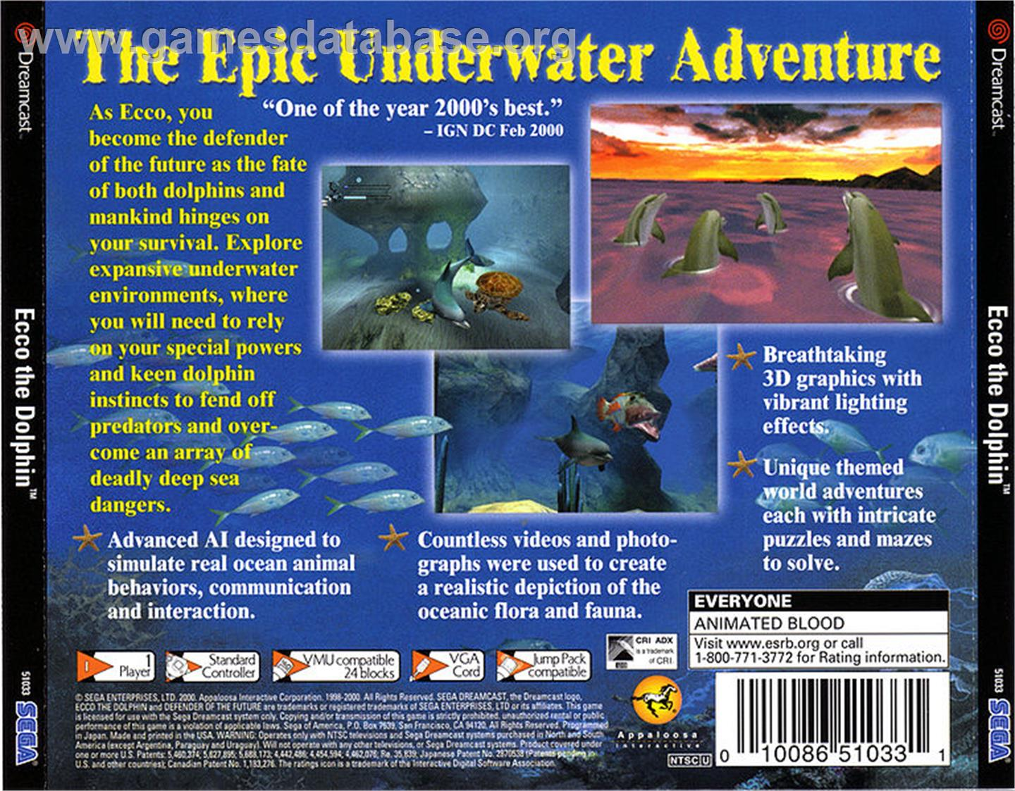 for Ecco the Dolphin: Defender of the Future on the Sega Dreamcast