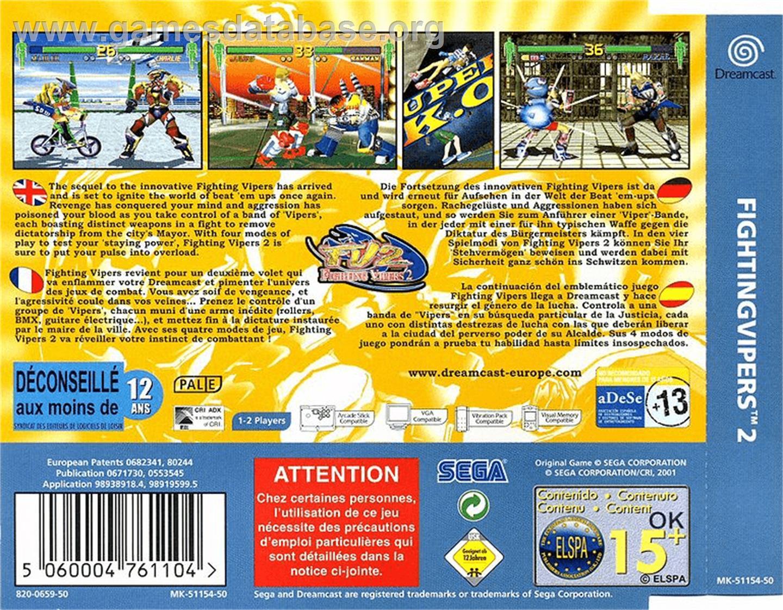 Fighting Vipers 2 - Sega Dreamcast - Artwork - Box Back