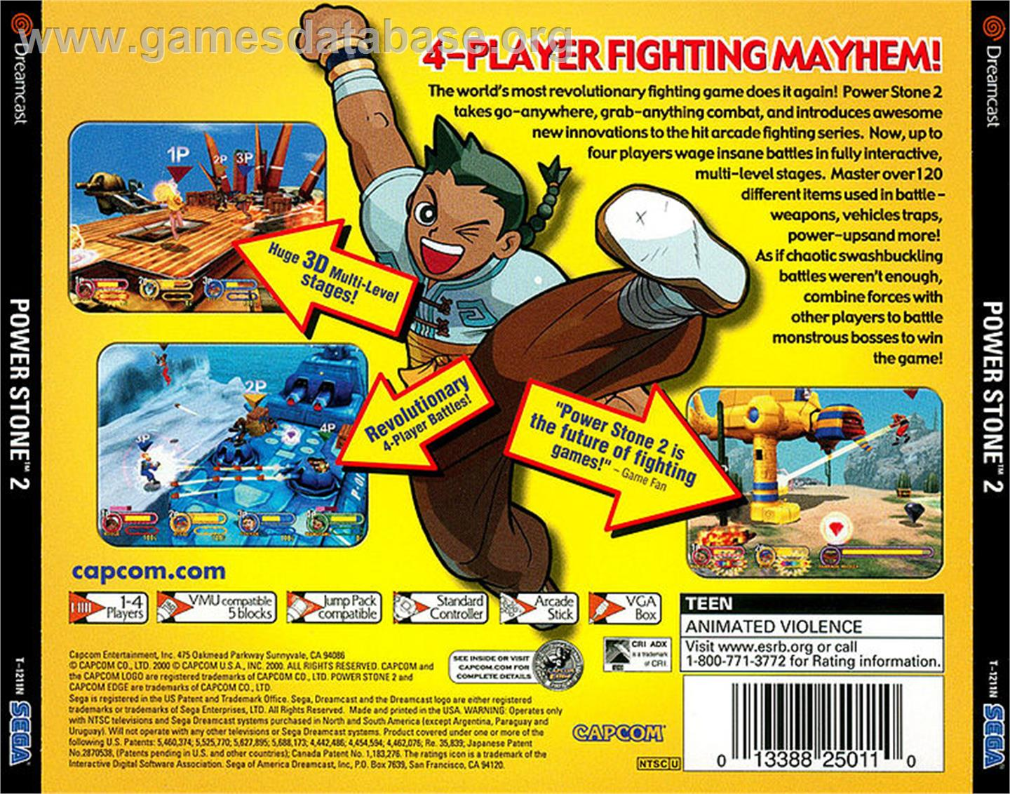 Box back cover for Power Stone 2 on the Sega Dreamcast.