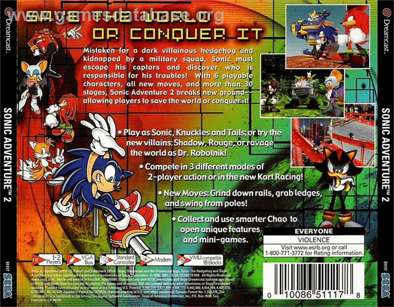 Box back cover for Sonic Adventure 2 on the Sega Dreamcast.