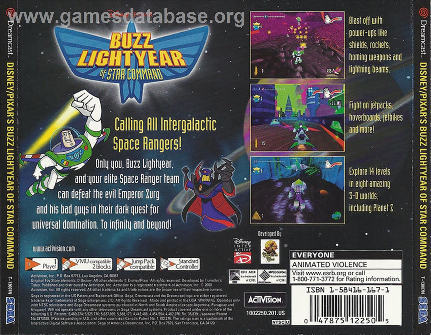 Toy Story 2: Buzz Lightyear of Star Command - Sega Dreamcast - Artwork - Box Back