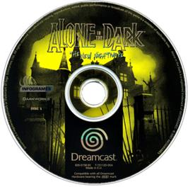 Artwork on the CD for Alone in the Dark: The New Nightmare on the Sega Dreamcast.