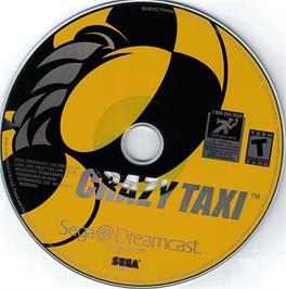 Artwork on the CD for Crazy Taxi on the Sega Dreamcast.