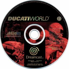 Artwork on the CD for Ducati World: Racing Challenge on the Sega Dreamcast.
