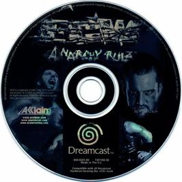 Artwork on the CD for ECW Anarchy Rulz on the Sega Dreamcast.