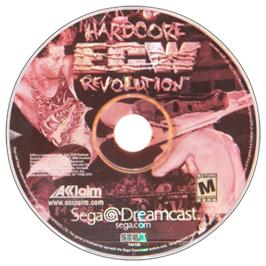 Artwork on the CD for ECW Hardcore Revolution on the Sega Dreamcast.