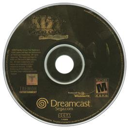 Artwork on the CD for Kiss: Psycho Circus - The Nightmare Child on the Sega Dreamcast.