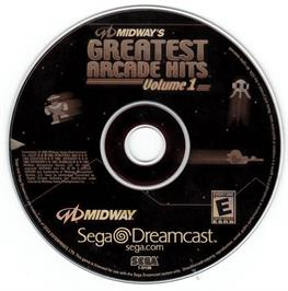 Artwork on the CD for Midway's Greatest Arcade Hits 1 on the Sega Dreamcast.