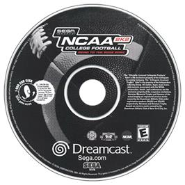 Artwork on the CD for NCAA College Football 2K2: Road to the Rose Bowl on the Sega Dreamcast.