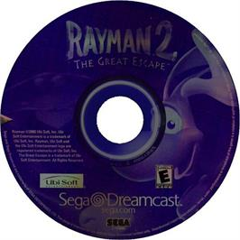 Artwork on the CD for Rayman 2: The Great Escape on the Sega Dreamcast.