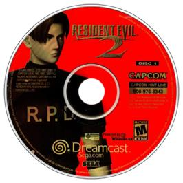 Artwork on the CD for Resident Evil 2 on the Sega Dreamcast.
