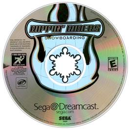Artwork on the CD for Rippin' Riders Snowboarding on the Sega Dreamcast.