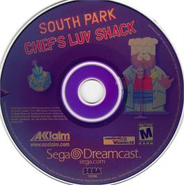 Artwork on the CD for South Park: Chef's Luv Shack on the Sega Dreamcast.