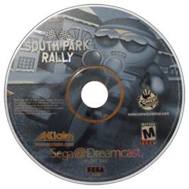 Artwork on the CD for South Park Rally on the Sega Dreamcast.