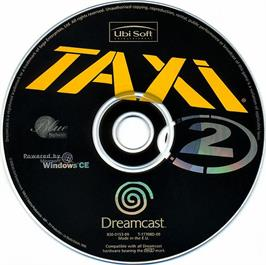 Artwork on the CD for Taxi 2: Le Jeu on the Sega Dreamcast.