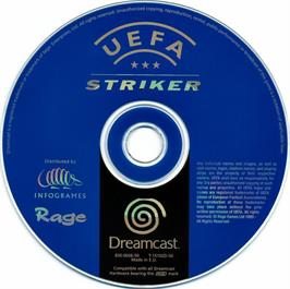 Artwork on the CD for UEFA Striker on the Sega Dreamcast.