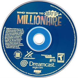 Artwork on the CD for Who Wants To Beat Up A Millionaire? on the Sega Dreamcast.