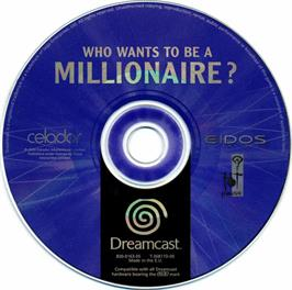 Artwork on the CD for Who Wants to Be a Millionaire? on the Sega Dreamcast.