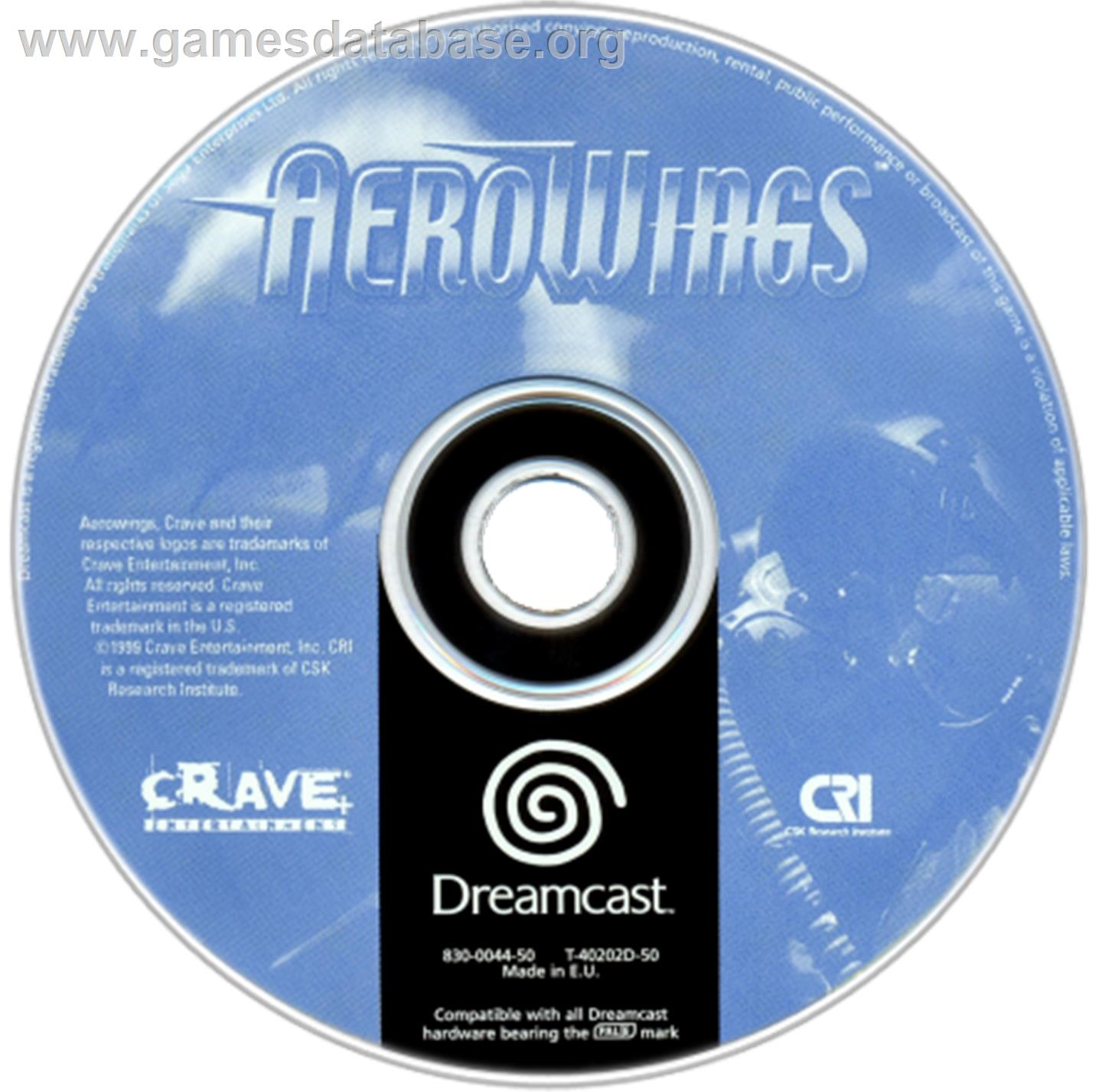 Artwork on the CD for Aerowings on the Sega Dreamcast.