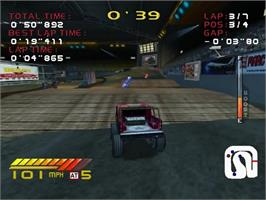 In game image of 4 Wheel Thunder on the Sega Dreamcast.