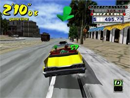 In game image of Crazy Taxi on the Sega Dreamcast.